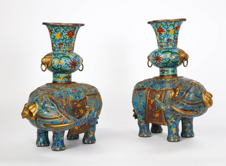 Pair of Chinese Cloisonne Enamel Elephant-Form Pricket Sticks, 20th Century For Sale 3