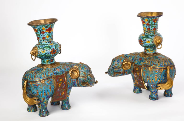 Pair of Chinese Cloisonne Enamel Elephant-Form Pricket Sticks, 20th Century For Sale 4