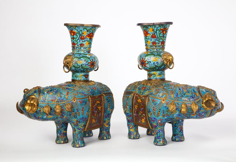 Pair of Chinese Cloisonne Enamel Elephant-Form Pricket Sticks, 20th Century For Sale 5