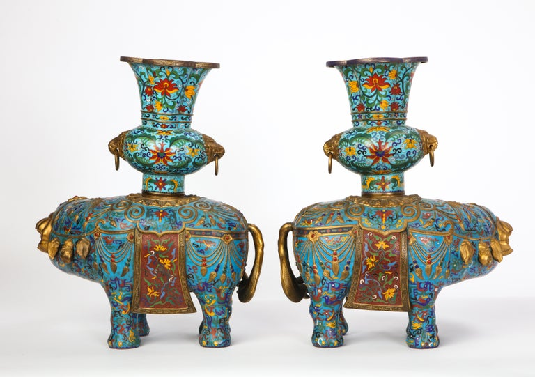 Pair of Chinese Cloisonne Enamel Elephant-Form Pricket Sticks, 20th Century For Sale 6