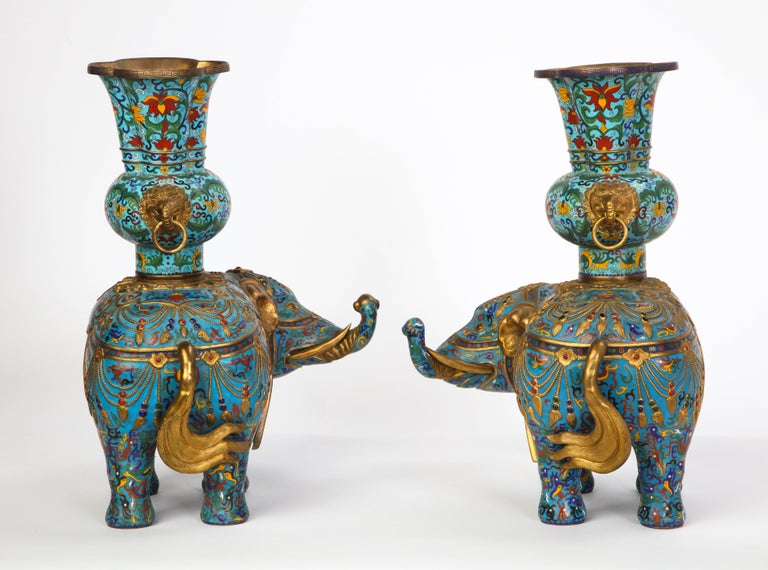 Pair of Chinese Cloisonne Enamel Elephant-Form Pricket Sticks, 20th Century For Sale 7
