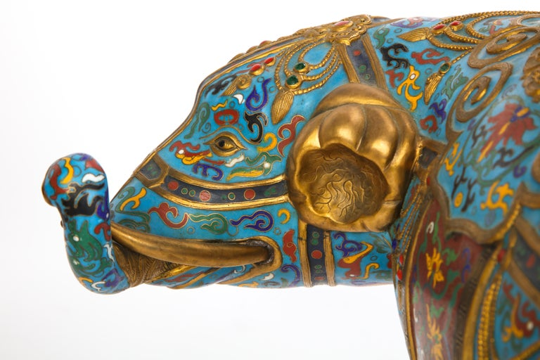 Pair of Chinese Cloisonne Enamel Elephant-Form Pricket Sticks, 20th Century For Sale 8
