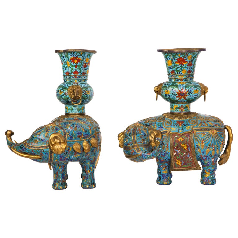 Pair of Chinese Cloisonne Enamel Elephant-Form Pricket Sticks, 20th Century For Sale