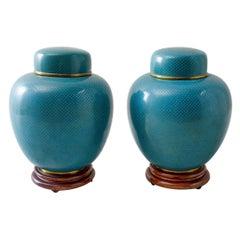 Pair of Chinese Cloisonné Enamel Lidded Jars