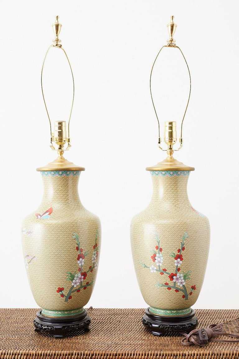 Pair of Chinese Cloisonne Floral Vases Mounted as Lamps For Sale 4