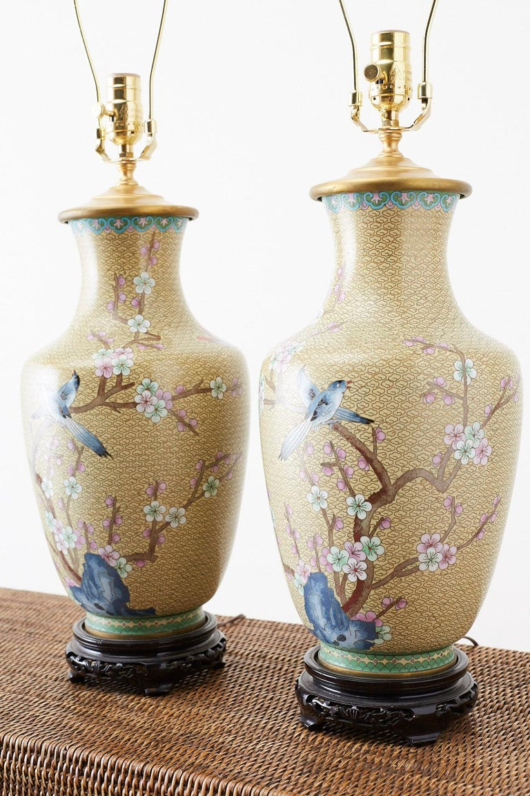 Hand-Crafted Pair of Chinese Cloisonne Floral Vases Mounted as Lamps For Sale