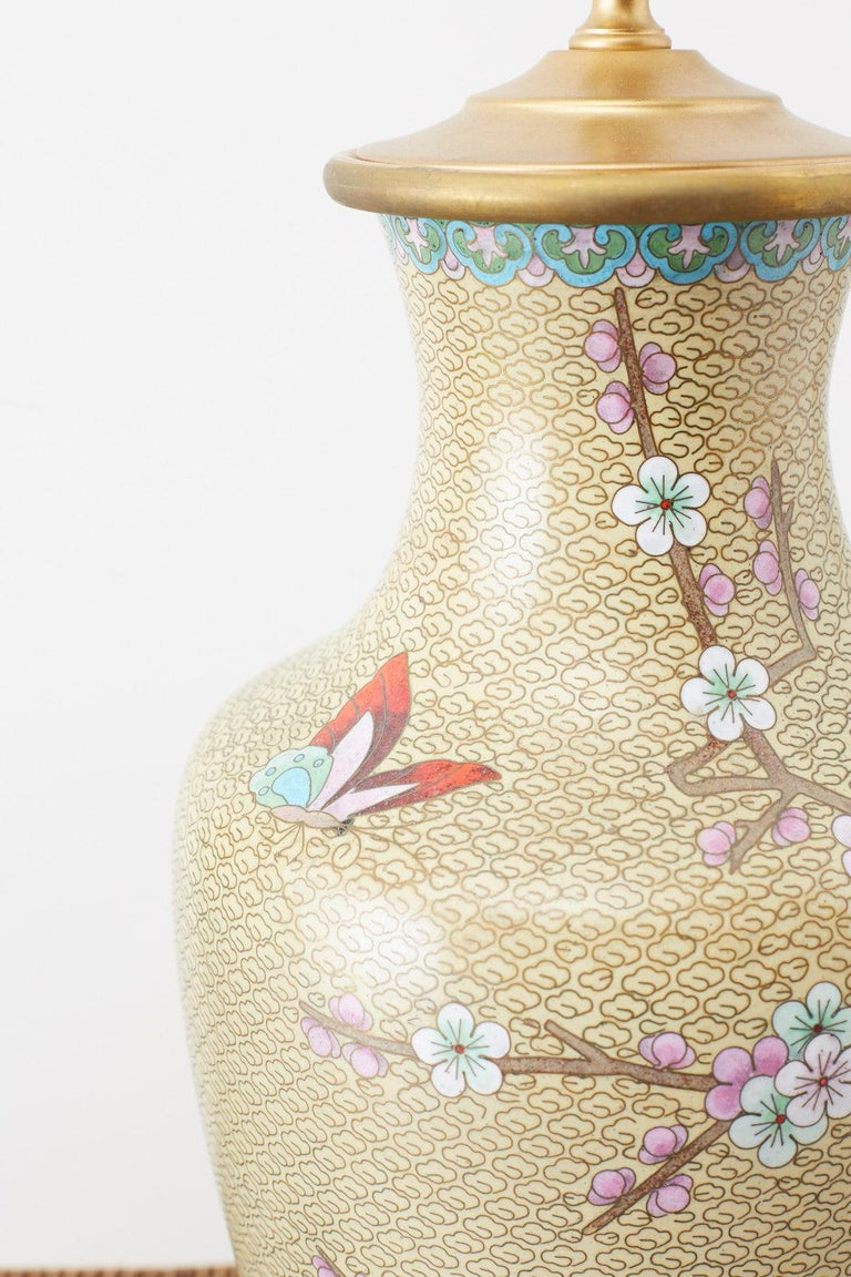 Pair of Chinese Cloisonne Floral Vases Mounted as Lamps For Sale 1