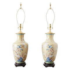 Pair of Chinese Cloisonne Floral Vases Mounted as Lamps