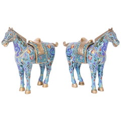 Pair of Chinese cloisonné Horses