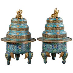 Pair of Chinese Cloisonné Large Incense Burners