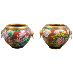 Pair of Chinese Cloisonné Round