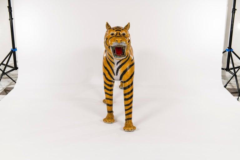 Cloissoné Pair of Chinese Cloisonné Tigers For Sale