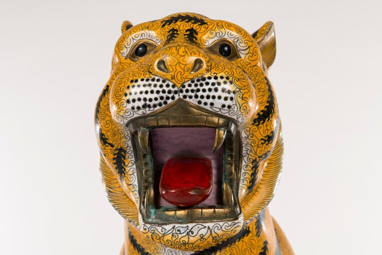 Pair of Chinese Cloisonné Tigers In Good Condition For Sale In Houston, TX