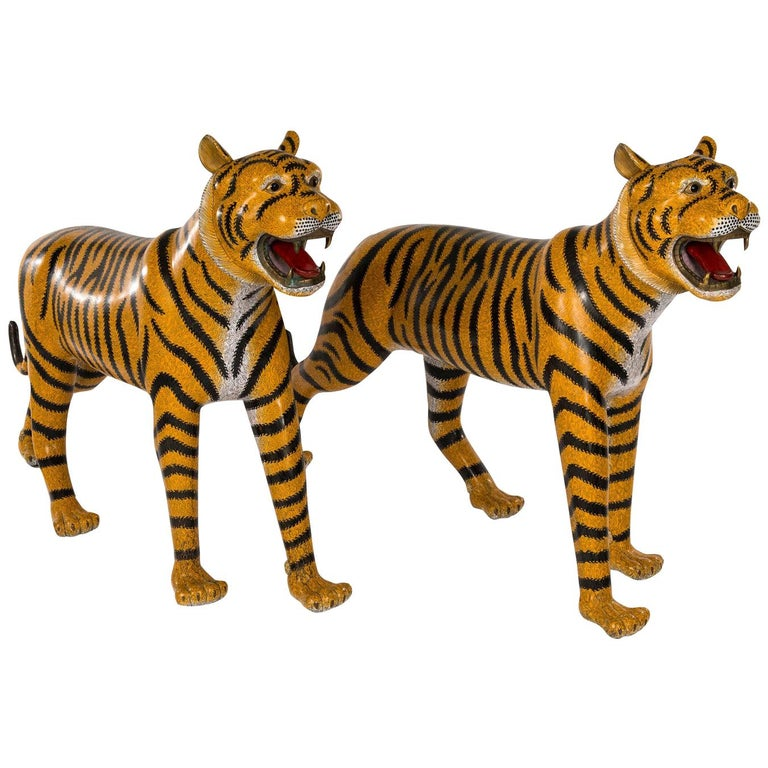 Pair of Chinese Cloisonné Tigers For Sale