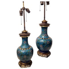 Pair of Chinese Cloisonné Vases Made into Lamps, 18th Century