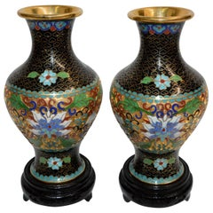 Pair of Chinese Cloisonné Vases on Lacquered Wooden Stands