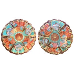 Pair of Chinese Colorful Porcelain Gilt Plates, Scalloped Edge, Old Label