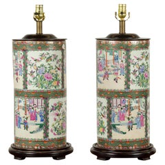 Pair of Chinese Contemporary Rose Medallion Cylinder Table Lamps on Bases