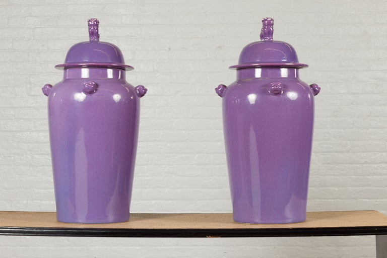 Pair of Chinese Covered Altar Vases with Lavender Patina and Guardian Lions For Sale 6