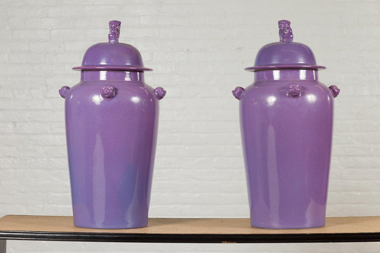 Pair of Chinese Covered Altar Vases with Lavender Patina and Guardian Lions For Sale 8