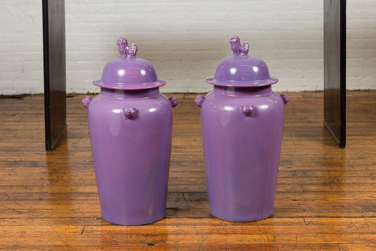 Pair of Chinese Covered Altar Vases with Lavender Patina and Guardian Lions For Sale 9