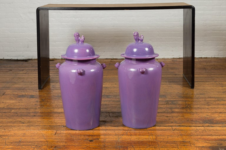 Pair of Chinese Covered Altar Vases with Lavender Patina and Guardian Lions For Sale 10
