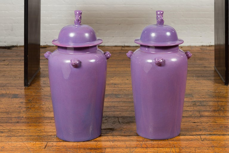 Pair of Chinese Covered Altar Vases with Lavender Patina and Guardian Lions For Sale 13