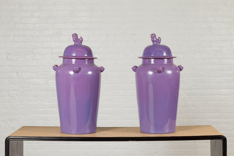 Pair of Chinese Covered Altar Vases with Lavender Patina and Guardian Lions In Good Condition For Sale In Yonkers, NY