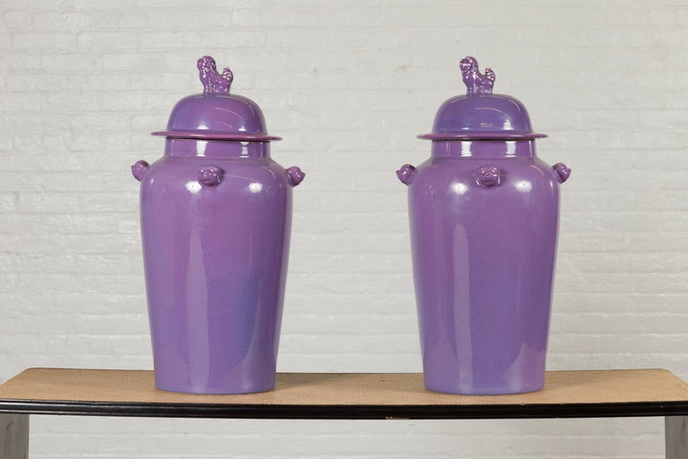 Contemporary Pair of Chinese Covered Altar Vases with Lavender Patina and Guardian Lions For Sale