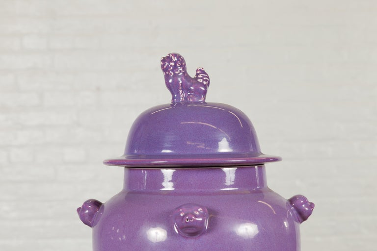 Pair of Chinese Covered Altar Vases with Lavender Patina and Guardian Lions For Sale 4