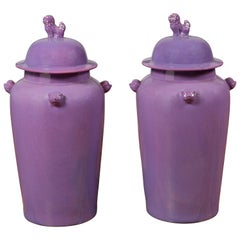 Pair of Chinese Covered Altar Vases with Lavender Patina and Guardian Lions