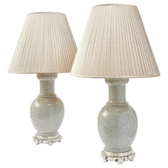 Pair of Chinese Crackleware Porcelain Lamps, circa 1950