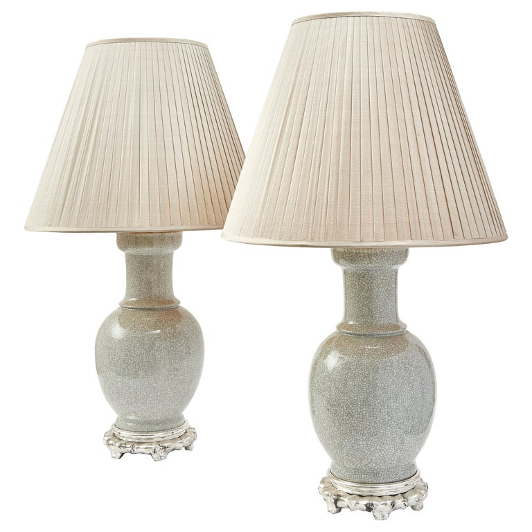 Pair of Chinese Crackleware Porcelain Lamps, circa 1950 For Sale