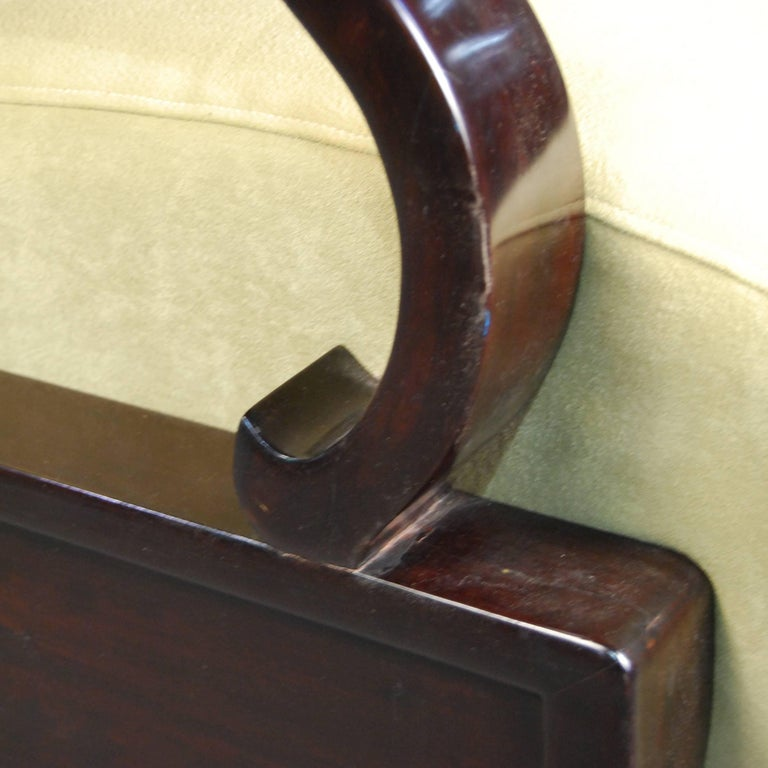 Rosewood Pair of Chinese Deco Club Chairs For Sale