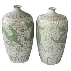 Pair of Chinese Dragon Place size Vases