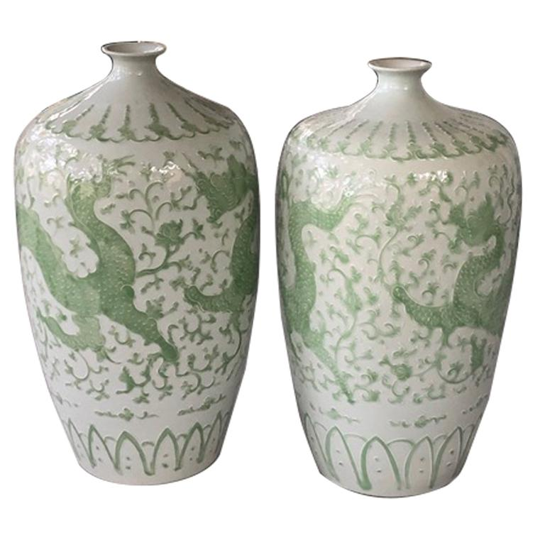 Pair of Chinese Dragon Place size Vases For Sale
