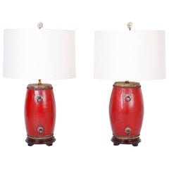 Pair of Chinese Drum Table Lamps in Red