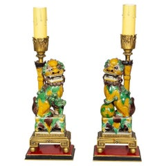 Pair of Chinese Egg and Spinach Foo Dog Joss Stick Holder Lamps