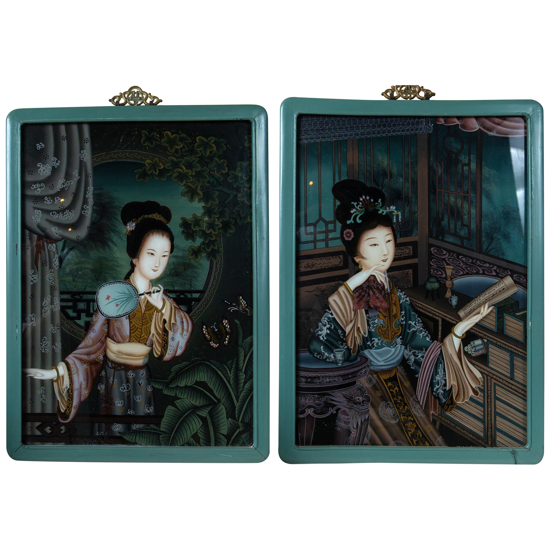 Pair of Chinese Églomisé Portraits of Ladies