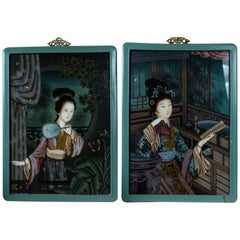 Pair of Chinese Églomisé Portraits of Ladies