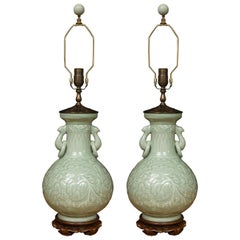 Pair of Chinese Embossed Celadon Lamps