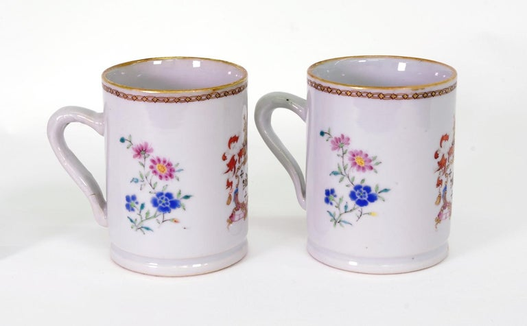 George II Pair of Chinese Export Armorial Small Mugs, circa 1750 For Sale