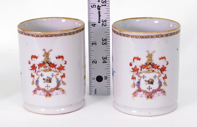 Pair of Chinese Export Armorial Small Mugs, circa 1750 For Sale 1