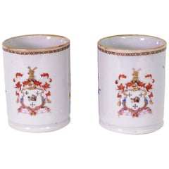Pair of Chinese Export Armorial Small Mugs, circa 1750