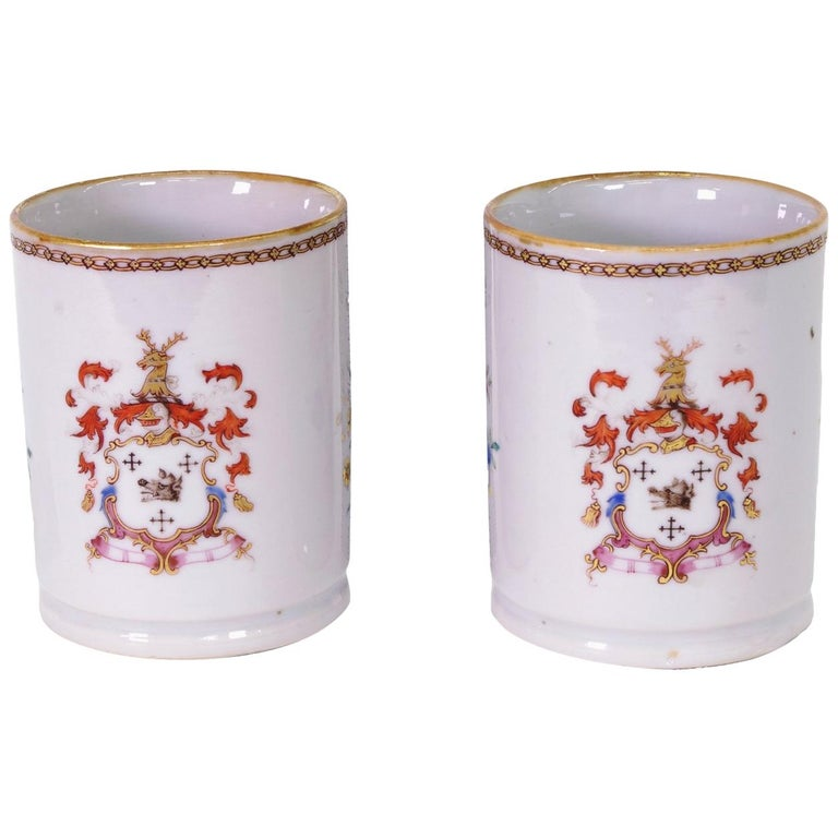 Pair of Chinese Export Armorial Small Mugs, circa 1750 For Sale