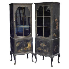 Pair of Chinese Export Black Lacquer Cabinets