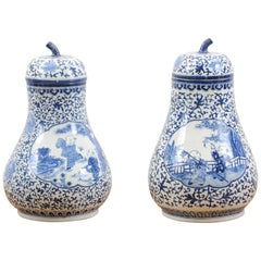 Pair of Chinese Export Blue and White Pear Shaped Porcelain Lidded Vases