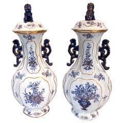 Pair of Chinese Export Blue and White Garniture Vases with Lids