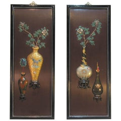 Pair of Chinese Export Decorative Wall Panels