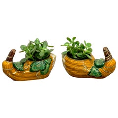 Pair of Chinese Export Enamel Gourd Cachepots